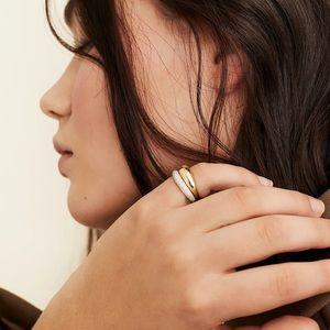 Mejuri boyfriend ring & thin dome ring combo